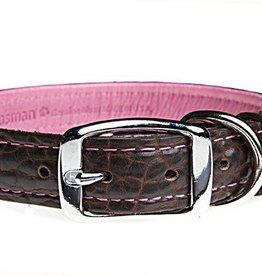 Tassman's Tassman's Tuscan Leather Collar Chocolate/pink