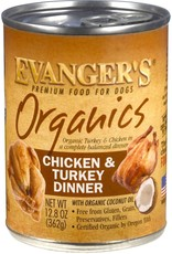 Evanger's Organic Chicken with Turkey Dinner 12.8oz Can single