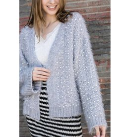 POL clothing pen front cardigan sweater with embroidered pearls