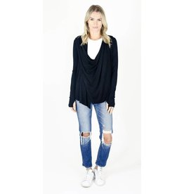 Six Fifty Clothing Draped Zipper Cardigan