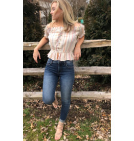 VINTAGE  HAVANA The Andy Off The Shoulder Top