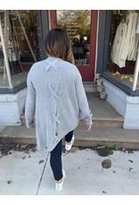 Hem & Thread Criss Cross Long Sleeve Cardigan