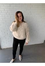 Hem & Thread Bubble Sleeve Pullover Sweater