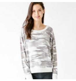 Six Fifty Clothing White Camo Dolman Sleeve Sweatshirt