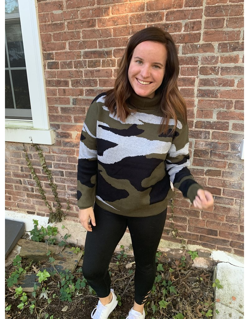 Six Fifty Clothing Camo Turtleneck Sweater