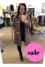 JACK Jack Women's Check Your Facts Jacquard Plaid Coat with Ruffle Detail