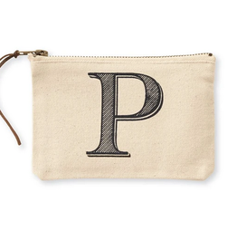 Mudpie Initial Canvas Cosmetic Bags