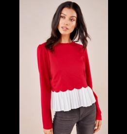 sugarlips Gotta Have It Cherry Mix Media Sweater Top