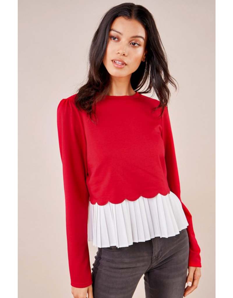 sugarlips Gotta Have It Cherry Mix Media Sweater Top