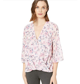 KUT KUT FROM THE KLOTH Ivana Floral Print Faux Wrap Blouse
