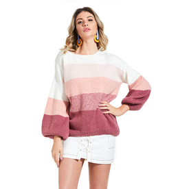 70*F/21*C Panel Stripe Lantern Sleeve Sweater