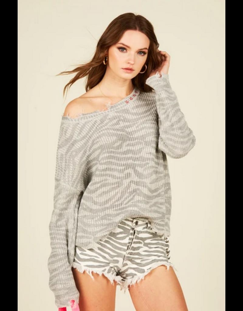 VINTAGE  HAVANA Zebra Print Sweater