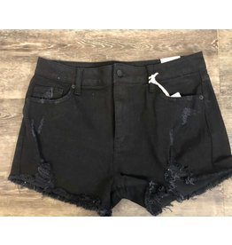 Letter To Juliet Black High Rise Distress Shorts