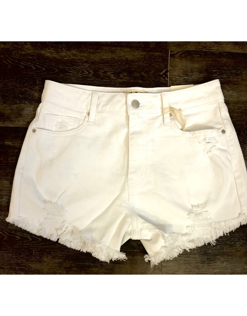 Letter To Juliet White Distressed High Rise Shorts