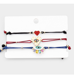 Evil Eye Heart Rhinestone Adjustable Bracelets