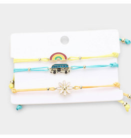Rainbow Bus Flower Adjustable Bracelets