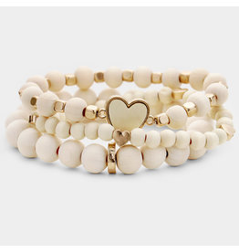 Wood Ball Bead Heart Charm Layered Stretch Bracelets