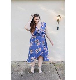 MAITAI Floral  Wrap Dress-Curvy