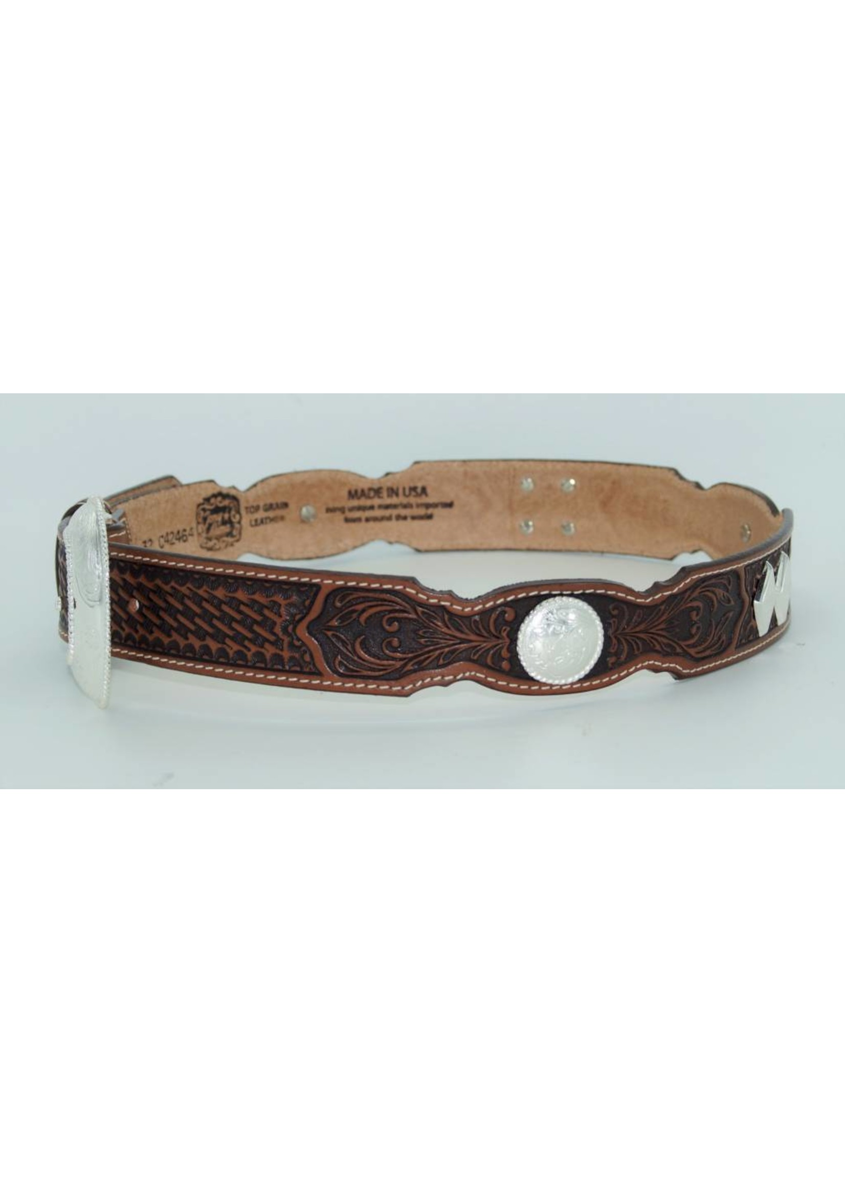 Tony Lama Tony Lama® Men's Brown Tooled Stillwater Creek Leather Belt C42464