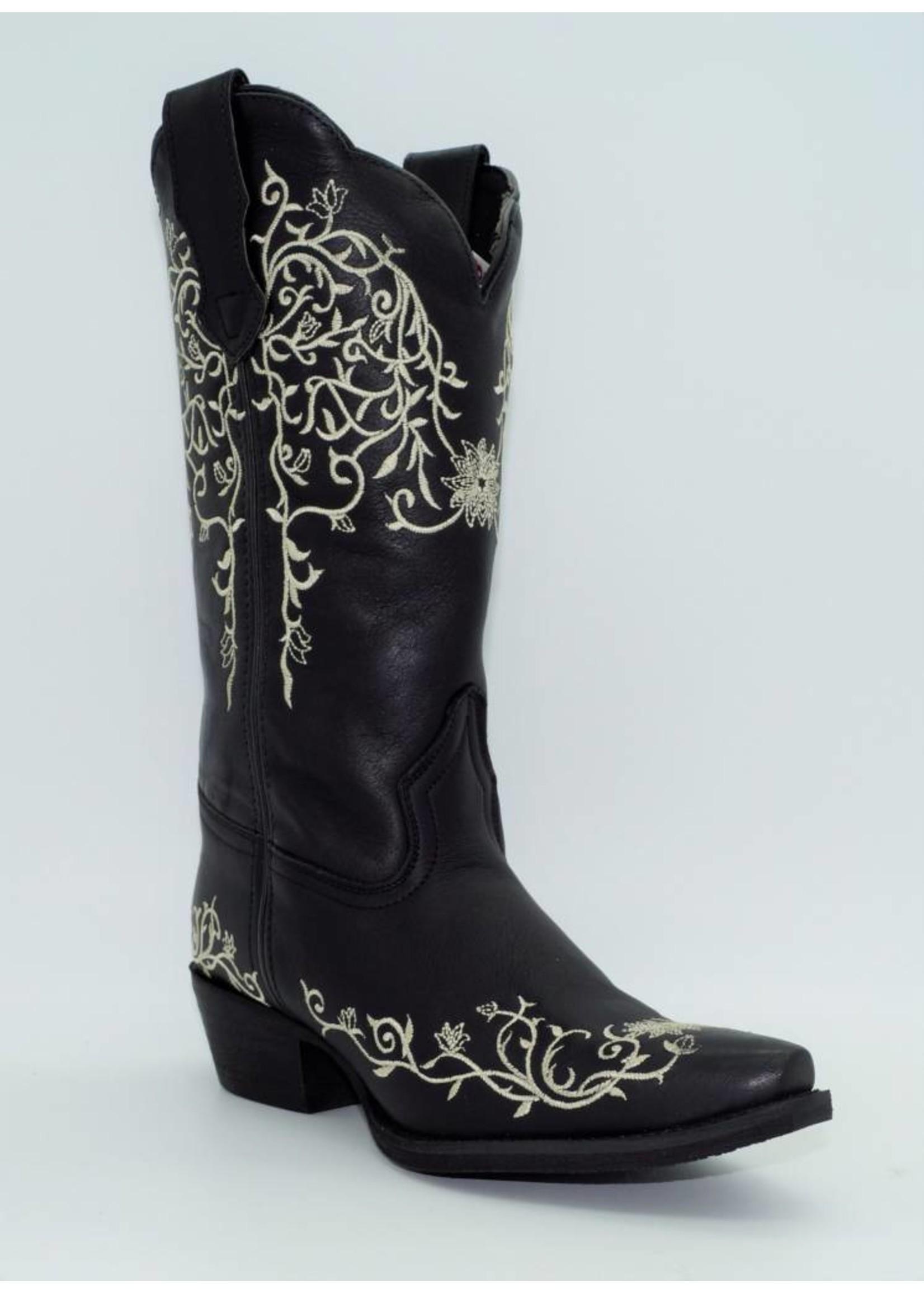 "Laredo Womens Cowboy 12"" White Flower Emb Black  52170"