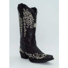 "Laredo Womens Cowboy 12"" White Flower Emb Black  52170"