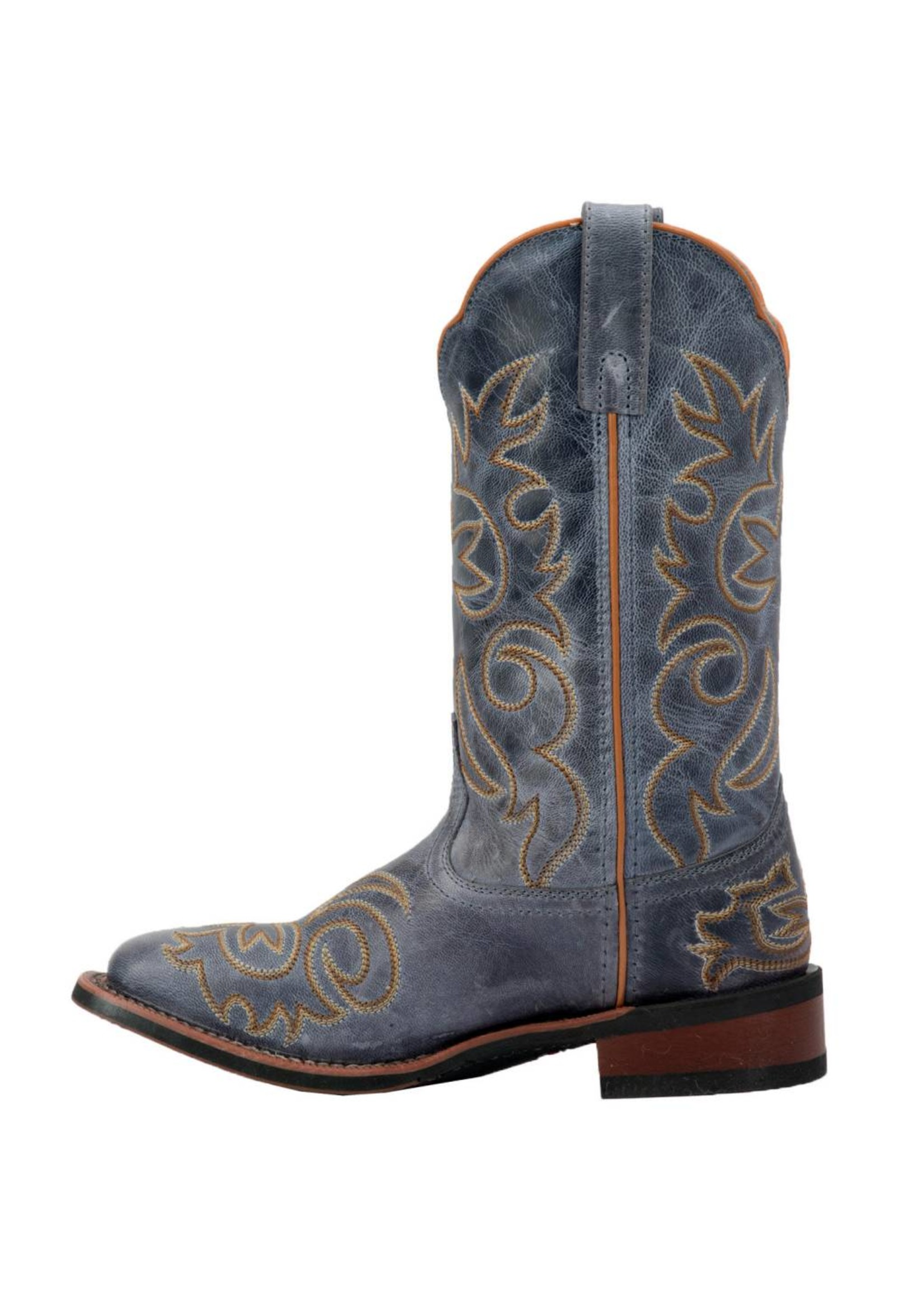 Laredo Ladies Ella Navy Embroidered Square Toe Western Boots 5676