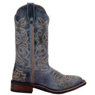 Laredo Ladies Ella Navy Embroidered Square Toe Western Boots 5676