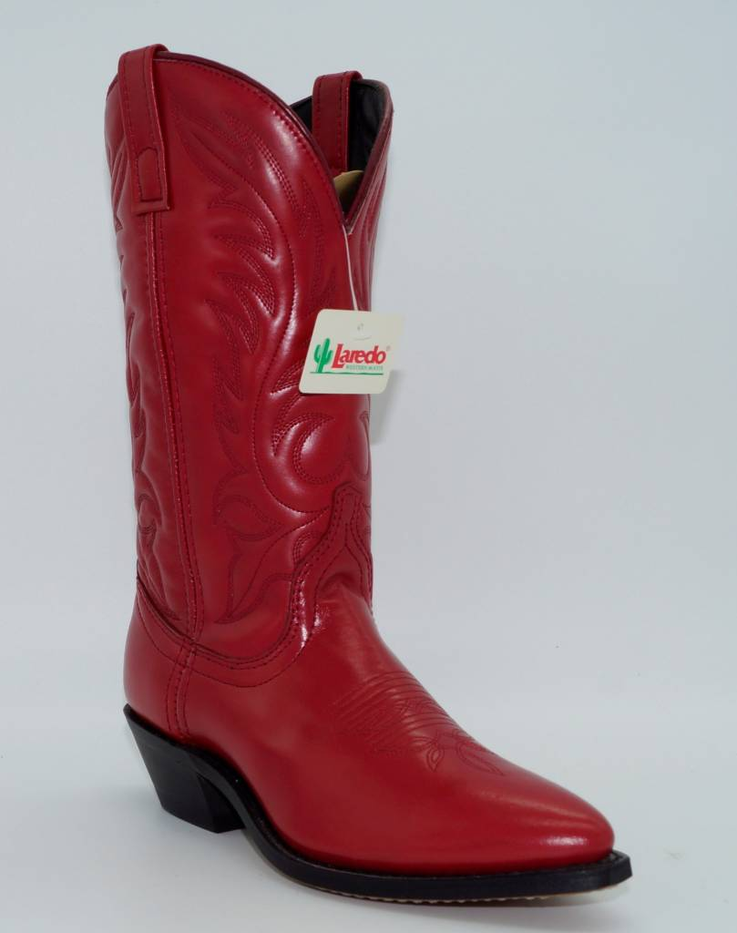 Women's Red Leather Western Boots 5741