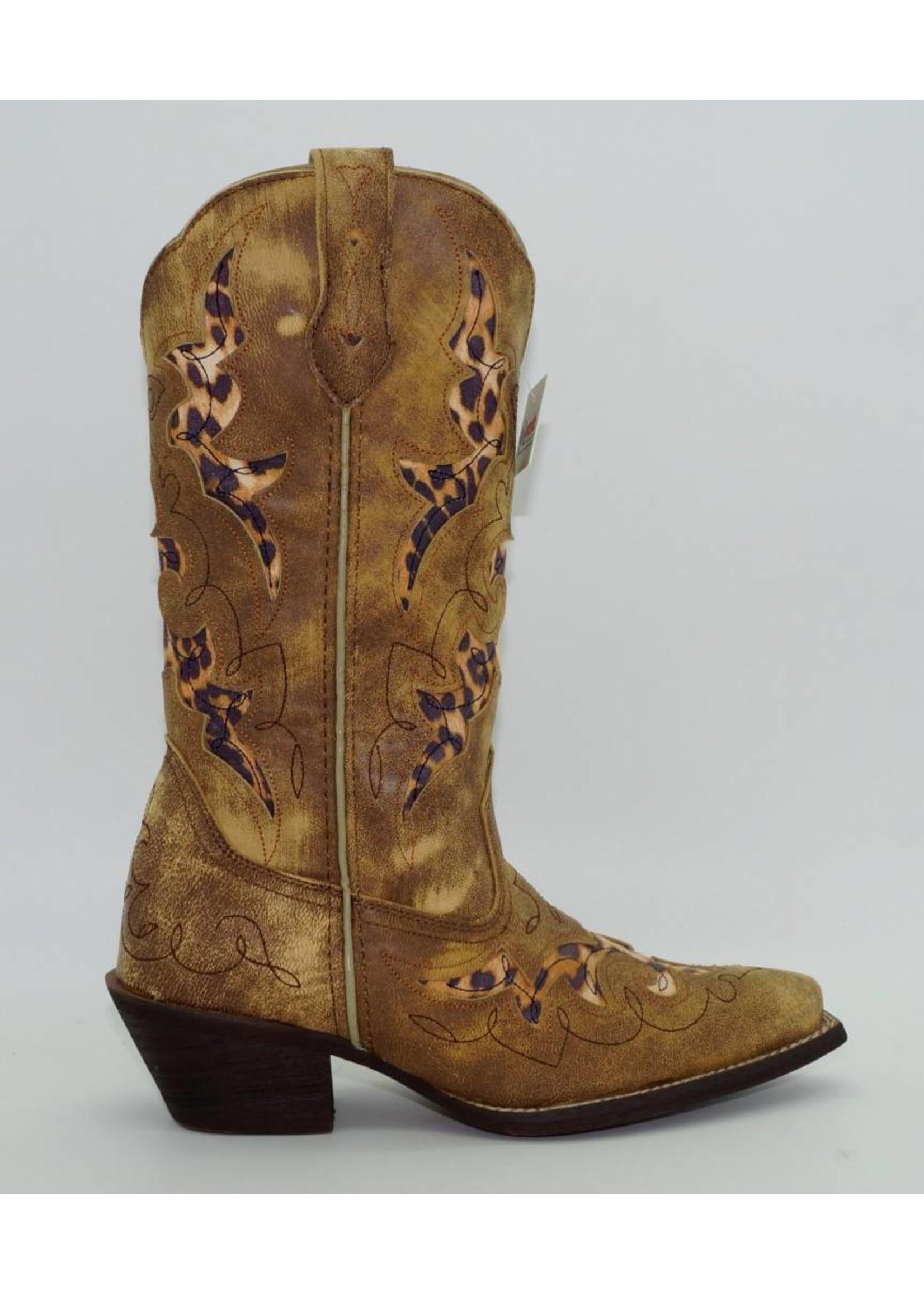 Laredo Womens Aphfricka Leopard Inlay Cowboy Tan 52132