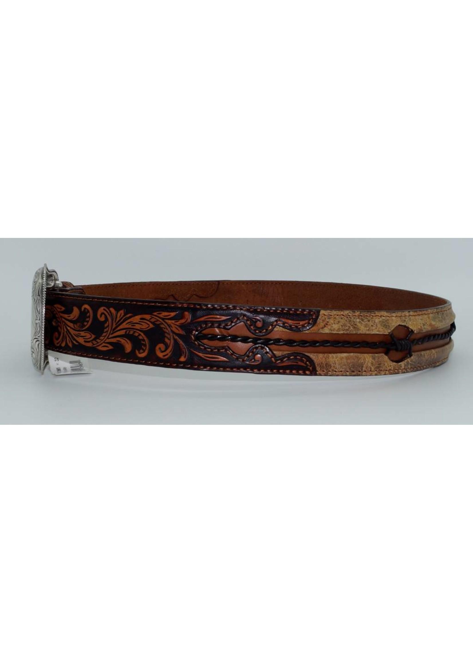 Justin Men's Vintage Barbed Wire Leather Belt C13665