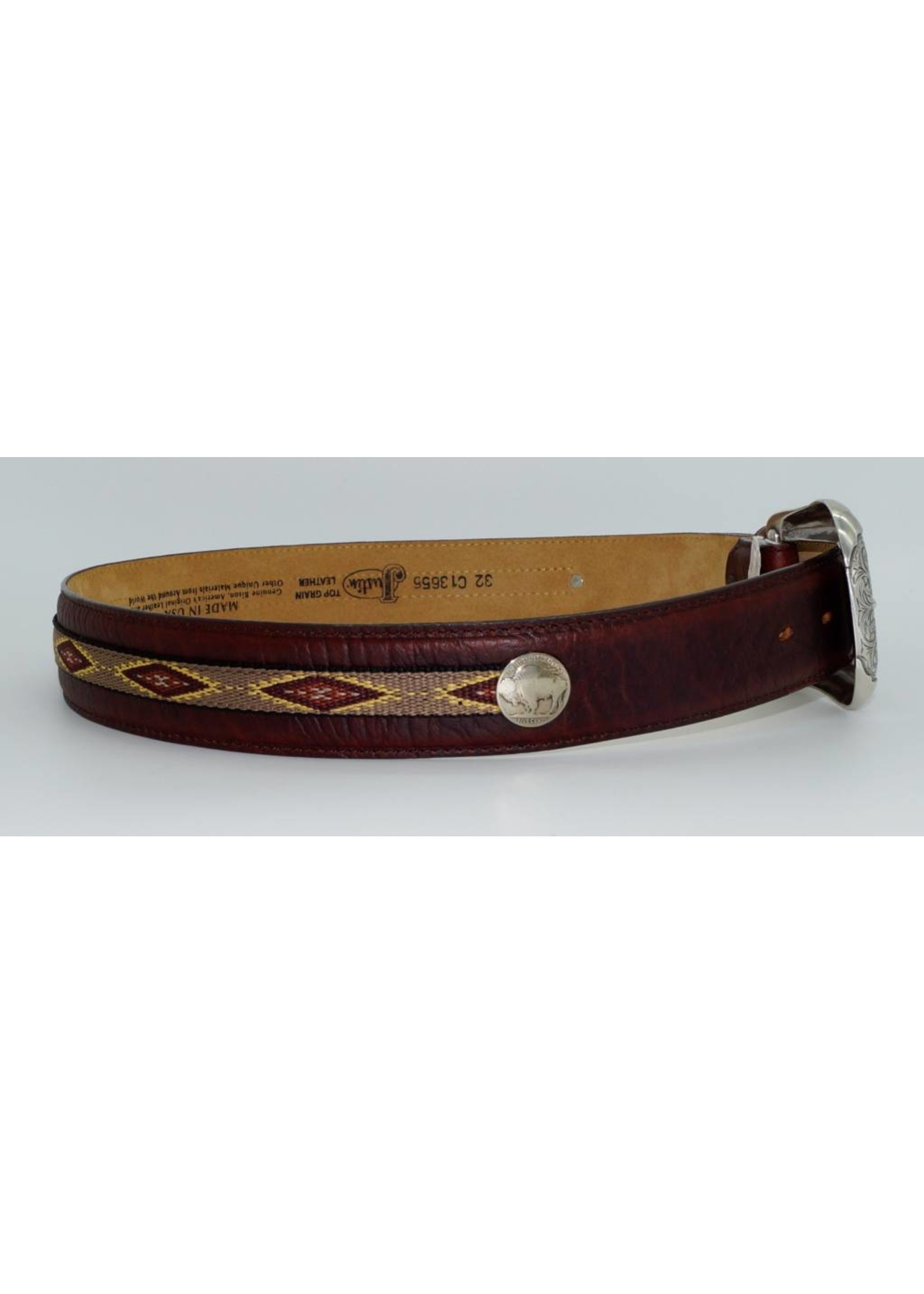 Justin Men's Brown Native Diamond Back Woven Belt C13655