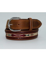 Tony Lama Men's Laced Edge Horse Hair Ribbon Belt 5A109