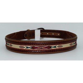 Tony Lama Men's Laced Edge Horse Hair Ribbon Belt 5A109