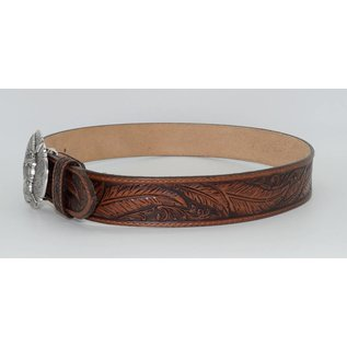 Tony Lama Tony Lama Mens USA Made Feather tooled Leather Belt C13704