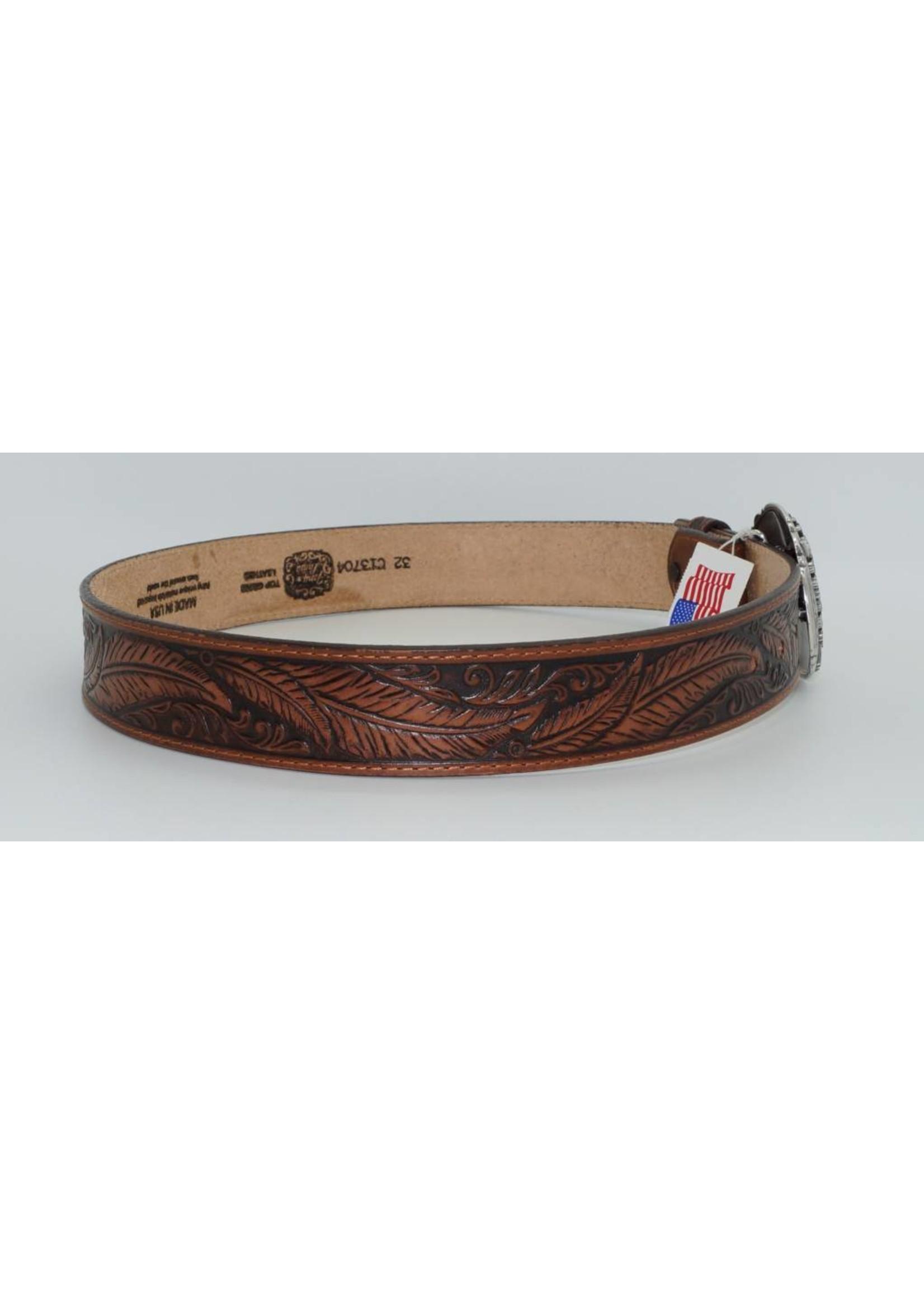 Tony Lama Tony Lama Mens USA Made Feather tooled Leather Belt C13704