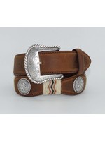Tony Lama Men's Belt Scalloped Aged Bark Buckaroo  79807