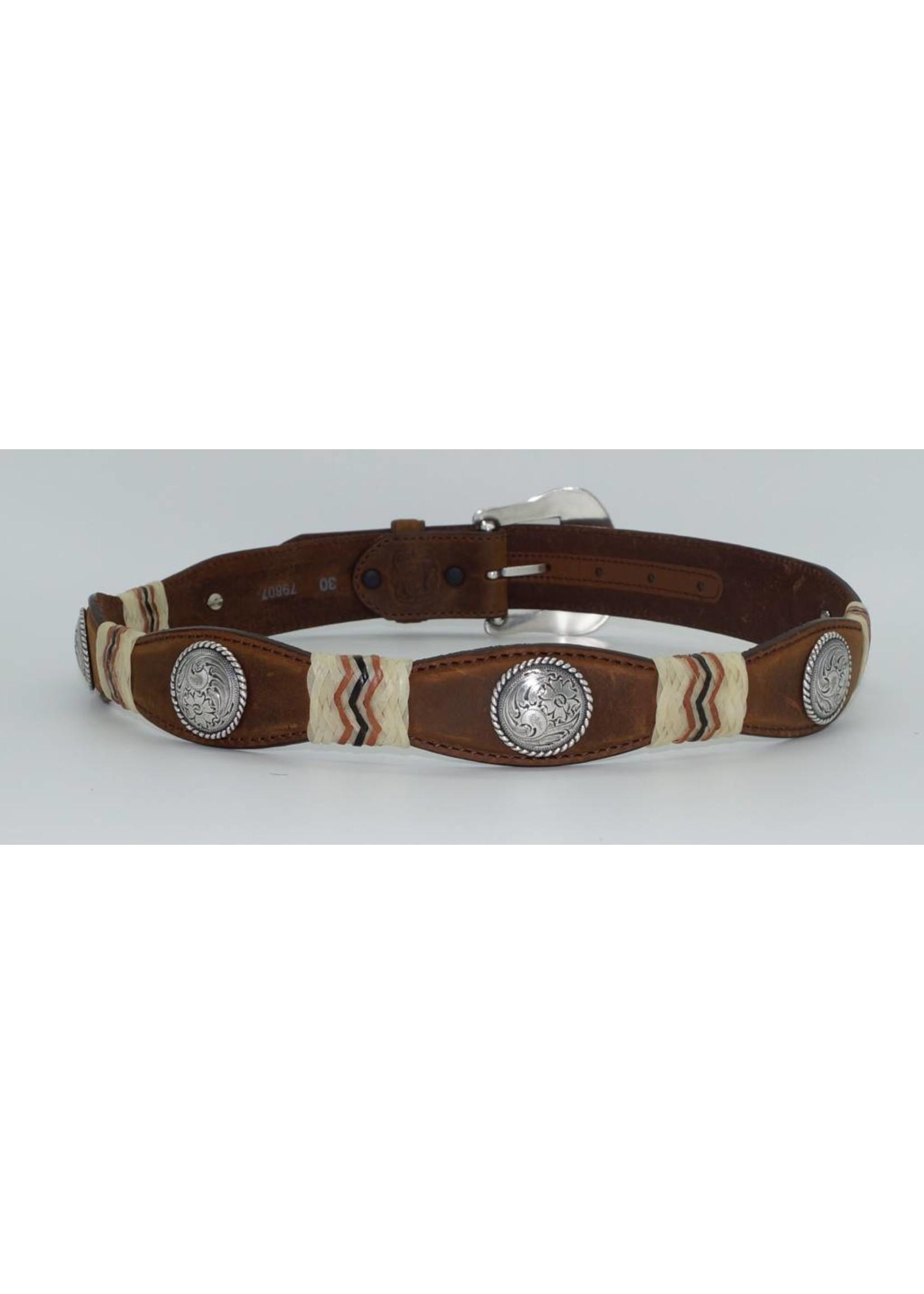 Tony Lama Men's Belt Scalloped Aged Bark Buckaroo  79807