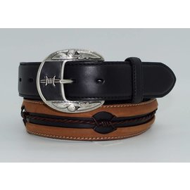 Leegin Men's Belt Fenced In Distressed Black and Brown with Barbed Wire Inspired Inlay C10813