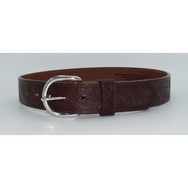 Justin Dark Brown Western Floral Tooled Leather Men's Belt 53905