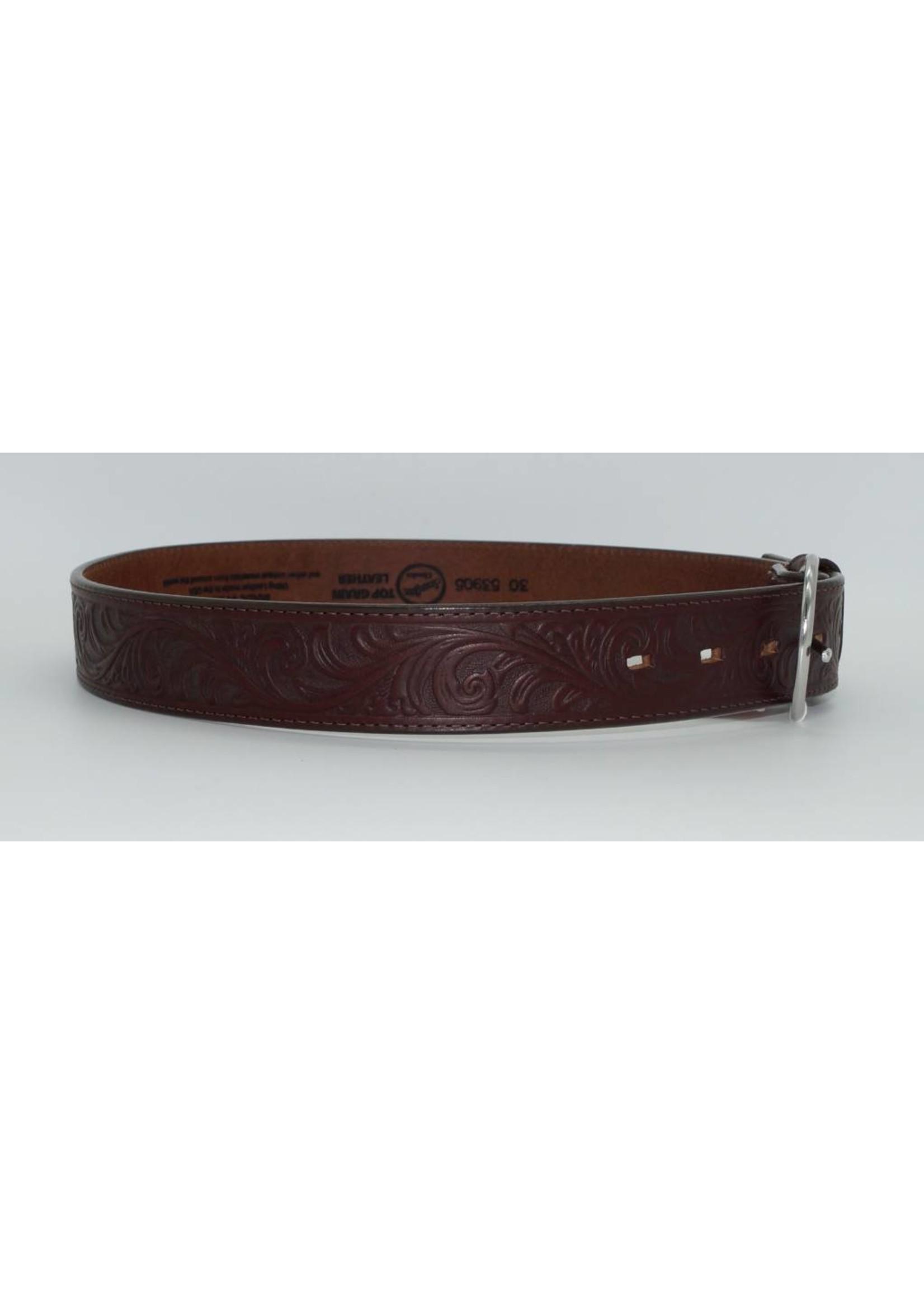Justin Dark Brown Western Floral Tooled Leather Men's Belt 53905