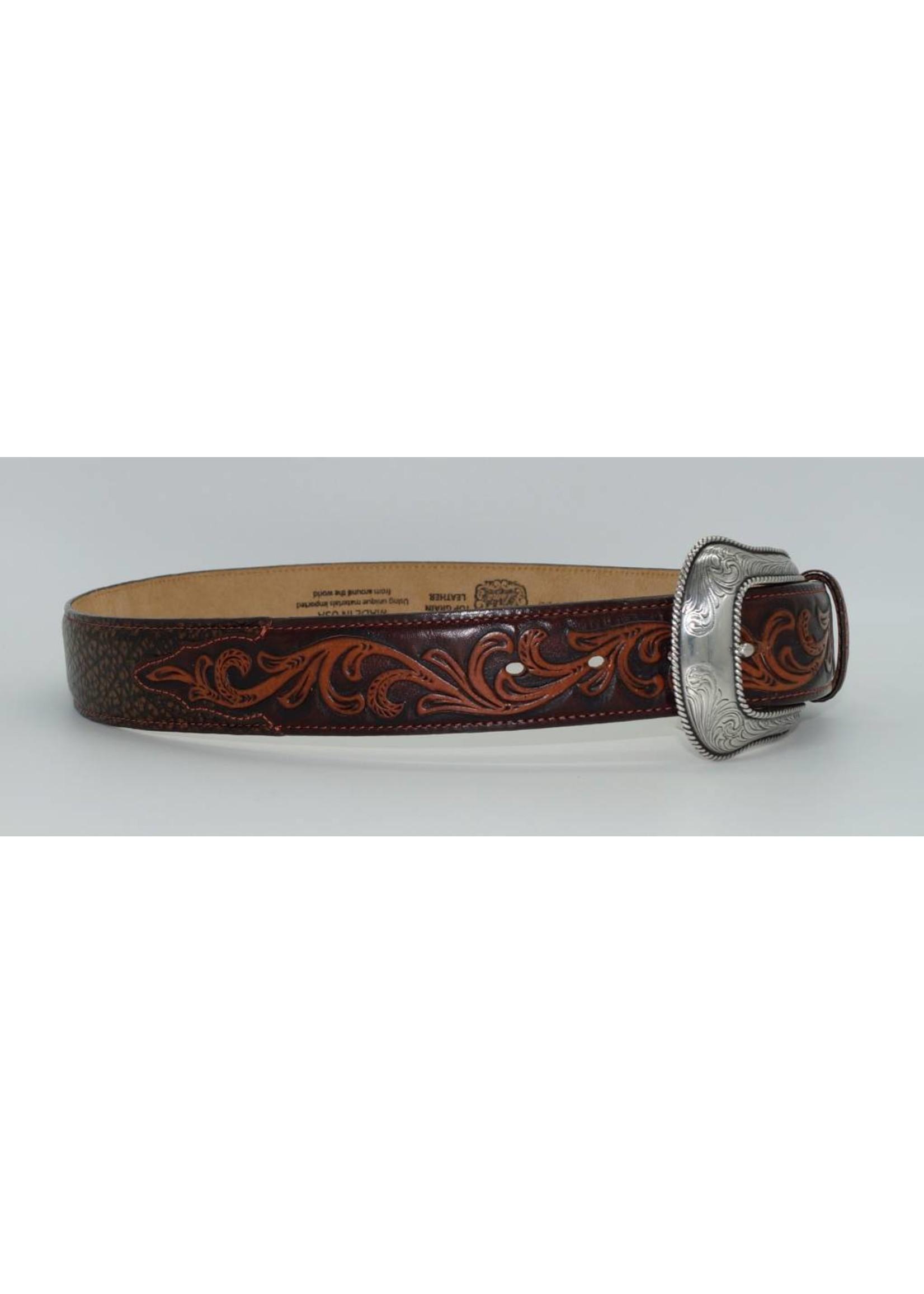 Tony Lama Men's Tooled Brown Leather Belt C42095