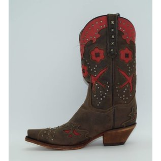 "Dan Post Women's 11"" Wild Bird Leather Boots Chocolate/Red DP3514"