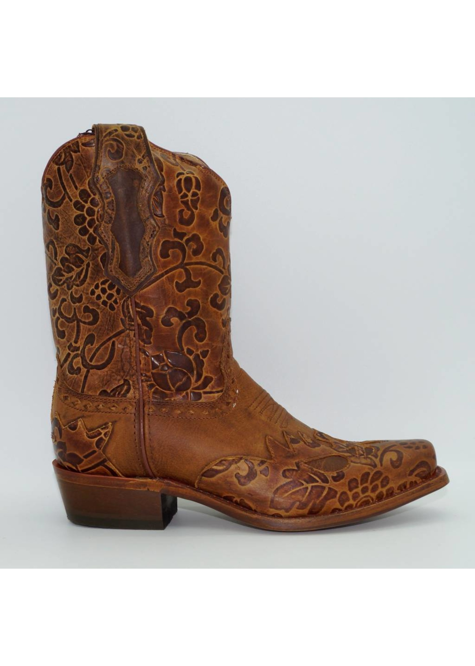 Sonora Women's Tooled Brown Western Boots SN1015