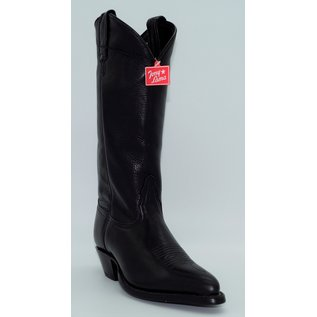 Tony Lama Tony Lama Ladies Vaquero Western boot in Black Thoroughbred Leather Foot and 11 Inch Black Thoroughbred Top featuring a Cushion Insole for all day comfort. This boot also features a Narrow Square Toe with Western Combination Heel and Leather Outsole for l
