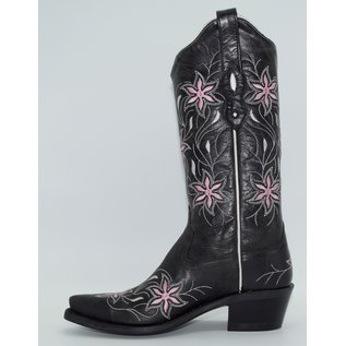 Old West  Womens Black Leather Flora LF1593