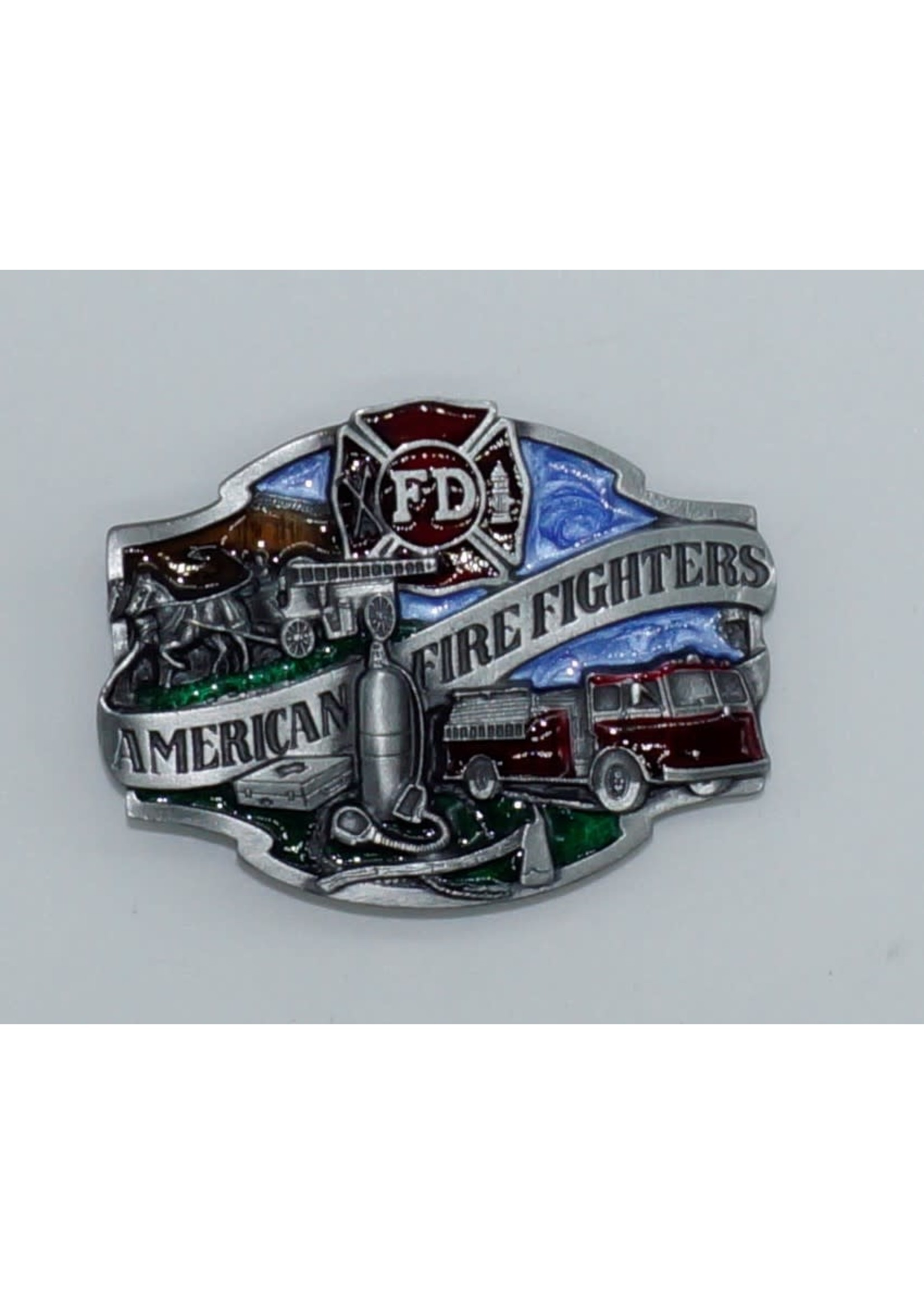 Siskiyou Gifts American Fire Fighters Enameled Belt Buckle G80E-H