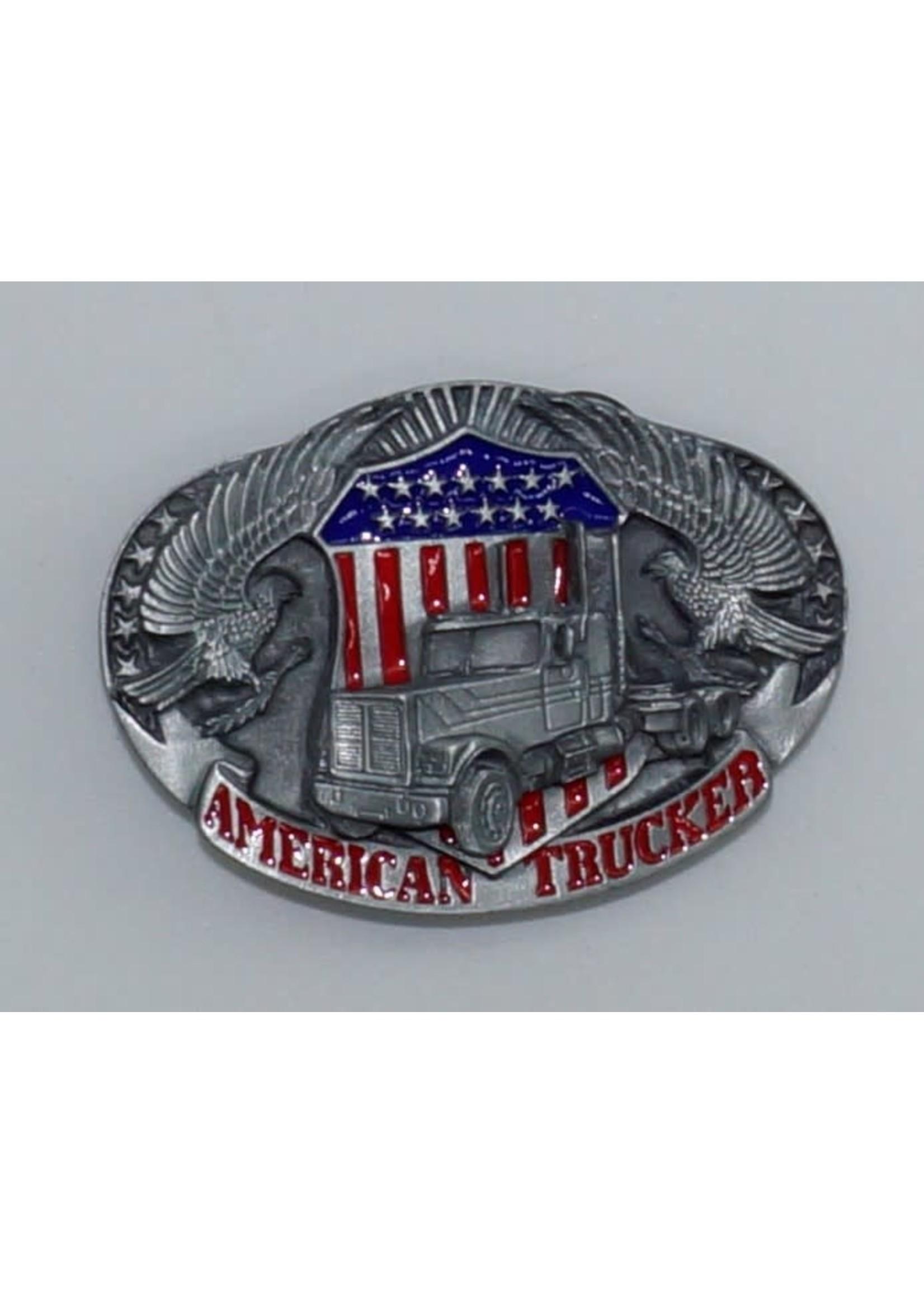 Siskiyou Gifts American Trucker Enameled Belt Buckle I80E