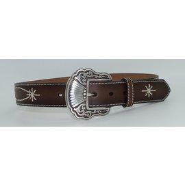 N3410908- Ladies /White Stitched/Brown Belt