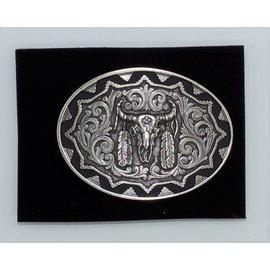 Attiude Buckles Antique Silver Skull Aztec