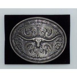Attiude Buckles Antique Silver Longhorn